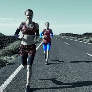 running with compression sleeve