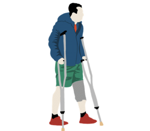Crutches after a knee replacement