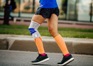 knee compression sleeve with running