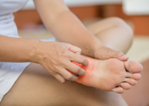 rubbing a foot with neuropathy